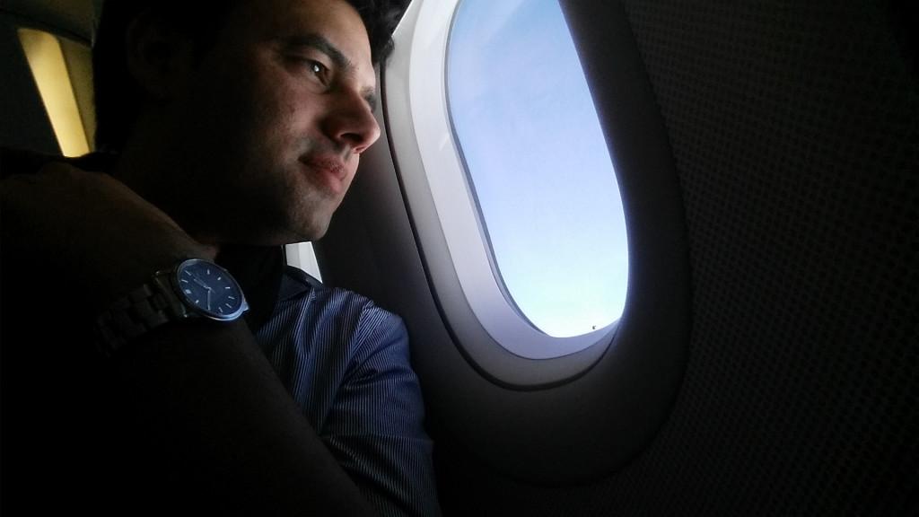 Ron Cherian im Flugzeug