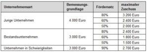 Tabelle: Beratungskosten und Fördersätze