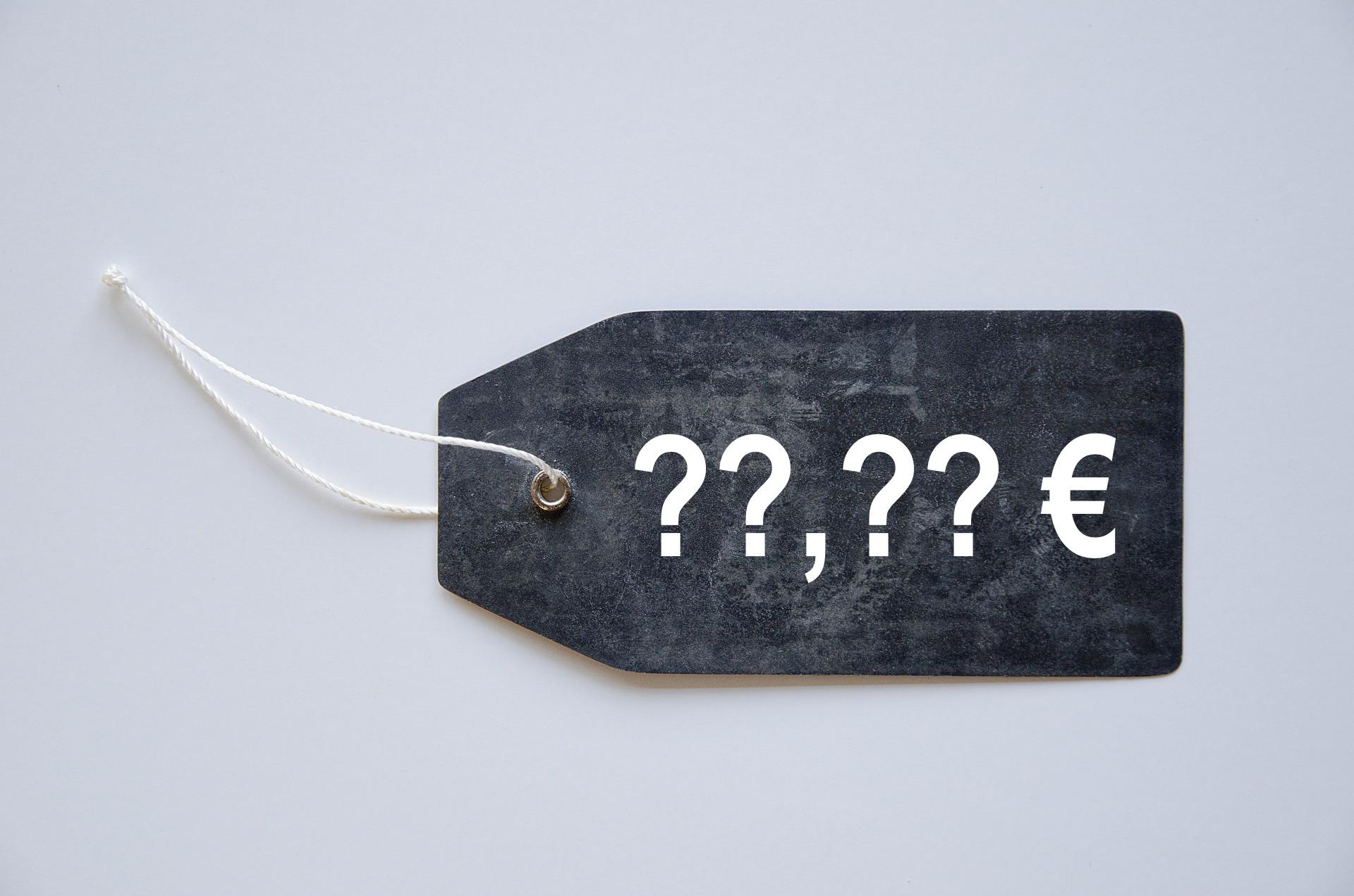 Preisschild mit unbestimmten Preis