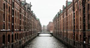 Blick auf die Speicherstadt in Hamburg