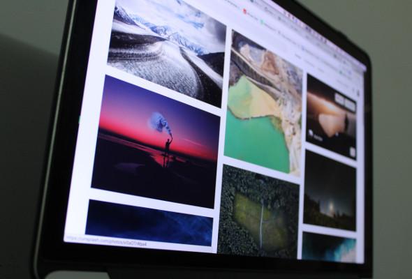 Nahaufnahme von einem Bildschirm mit verschiedenen Fotos.