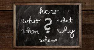 Tafel mit Fragen: Wer Was Wie Warum